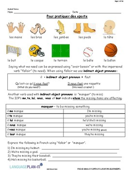 INTRO TO SPORTING EQUIPMENT (FRENCH)