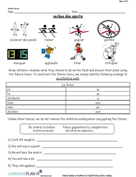 INTRO TO THE FUTURE, SPORTS VERBS (FRENCH)