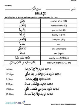 INTRO TO TIME EXPRESSIONS (ARABIC)
