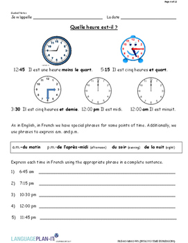 INTRO TO TIME EXPRESSIONS (FRENCH)