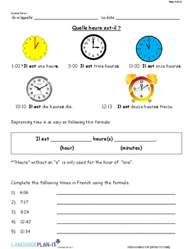 INTRO TO TIME (FRENCH)