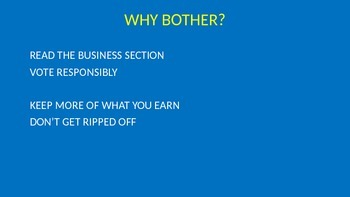 INTRODUCTION TO FINANCIAL LITERACY: WHY BOTHER?