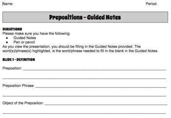 INTRODUCTION TO GRAMMAR - 11 GOOGLE PRESENTATIONS AND GUIDED NOTES