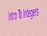 INTRODUCTION TO INTEGERS 6th GRADE POWERPOINT