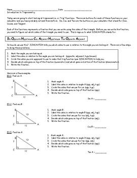 INTRODUCTION TO TRIGONOMETRY PACKET 2 W/ ANSWERS | TpT