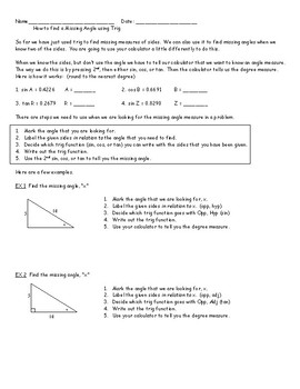 INTRODUCTION TO TRIGONOMETRY PACKET  2     W/ ANSWERS
