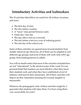INTRODUCTORY ACTIVITIES AND ICEBREAKERS