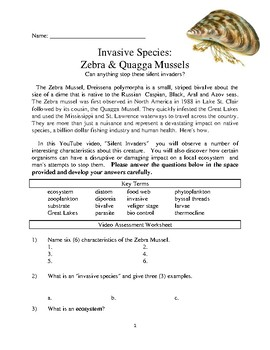 INVASIVE SPECIES: ZEBRA MUSSELS  Comprehensive Lesson Plan Packet