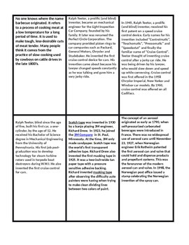 INVENTION TRIVIA for comprehension, main idea, summary, questions