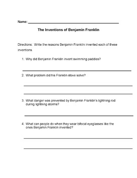 Biography INVENTIONS OF BEN FRANKLIN Info 4 Cause-Effect Reading Comprehension Q