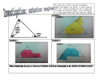 INVESTIGATE: Exterior Angles