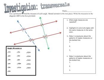INVESTIGATE: Transversals