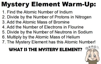INVESTIGATING THE PERIODIC TABLE WARM-UP ACTIVITIES