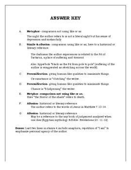 Invictus Figurative Language Analysis Worksheet