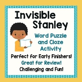 INVISIBLE STANLEY (Flat Stanley) Activities Word Puzzle and Fill-in-the-Blanks