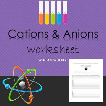 IONS: Cations and Ions Worksheet with Answer Key