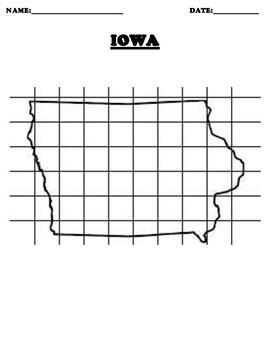 IOWA Coordinate Grid Map Blank