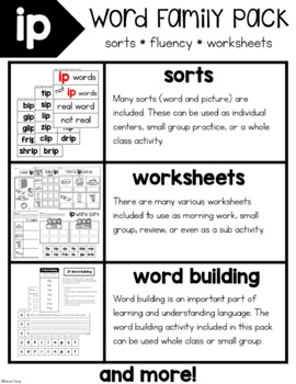 IP Word Family Activities