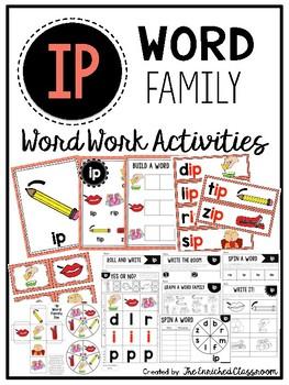 IP Word Family Word Work Activities