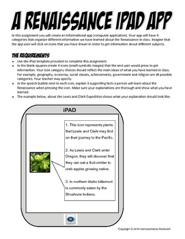 Renaissance Graphic Organizer Looks Like an IPAD! Now Common Core!