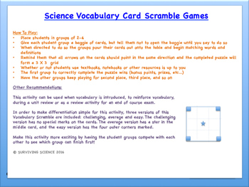 IPC/Physical Science Vocabulary Scramble Game: Changes in Matter