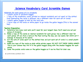 IPC/ Physical Science Vocabulary Scramble Game: Motion: Force and Momentum