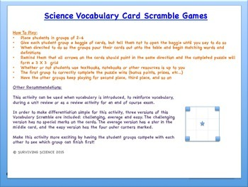 IPC/Physical Science Vocabulary Scramble Game: Nuclear Reactions
