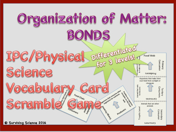 IPC/ Physical Science Vocabulary Scramble Game: Organization of Matter: Bonds