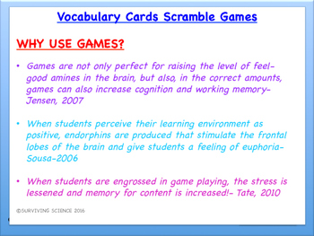 IPC/ Physical Science Vocabulary Scramble Game: Potential and Kinetic Energy