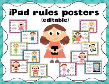 IPad rules printable posters (editable)