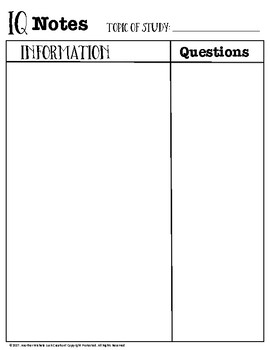 IQ Notes Template Graphic Organizer for ANY TOPIC!
