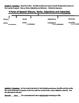 IR 4 parts of speech (v, n, adv, adj) worksheet