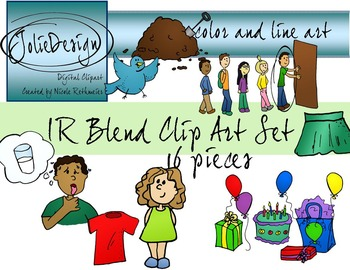 IR Blend Phonics Clip Art Set - Color and Line Art 16 pc set
