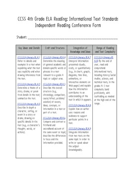 Conference Form: 4th Grade Common Core ELA Reading: Informational Text Aligned