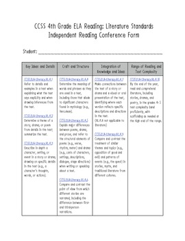 IR Conference Form: Common Core 4th Grade ELA Reading Literature Aligned