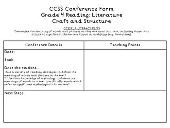 IR Conference Form: Grade 4 Common Core.RL. Craft and Structure