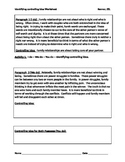IR Controlling Idea Worksheet - two soliloquies from Hamlet