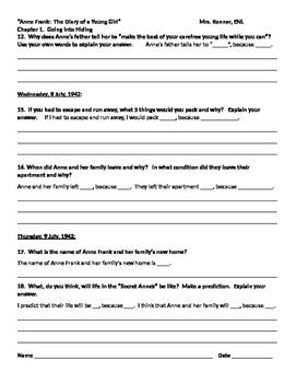 IR Diary of Anne Frank - Ch.1 - Worksheet