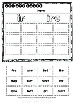 IR - IRE Sorts | Cut and Paste Worksheets