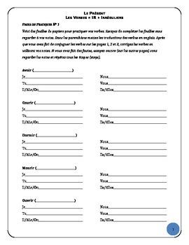 IR Irregular Verb Worksheets