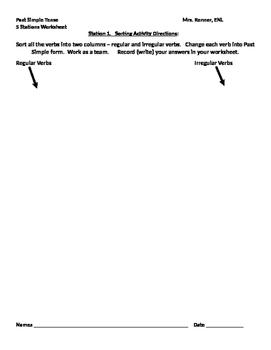 IR Past Simple 5 Stations Worksheet