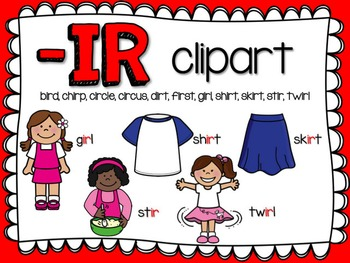 IR R-Controlled Vowel Clipart by Teacher Laura