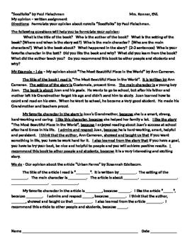 IR Seedfolks by Paul Fleischman Book Opinion Written Response
