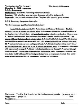 IR The Elephant Man by Tim Vicary - SOS Summary response, ch. 5