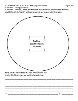 IR The Most Beautiful Place in the World Intro Worksheet