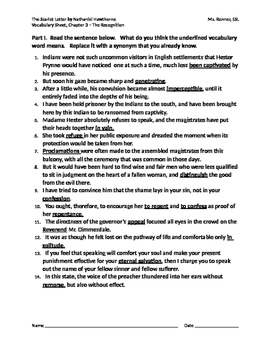 IR The Scarlet Letter by Nathaniel Hawthorne No Fear Vocabulary Chapter 3