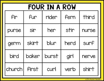 IR, UR and ER R-Controlled Vowels Word Work Distance Learning