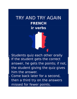 IR Verbs FRENCH Try and Try Again