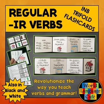 IR Verbs Interactive Notebook Trifold Flashcards, Spanish