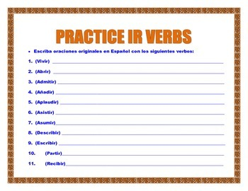 IR Verbs in Spanish- Conjugation Table Present Tense/Practice /Word Search